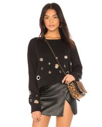 Black Orchid - Black Cropped Sweatshirt With Eyelets - Lyst