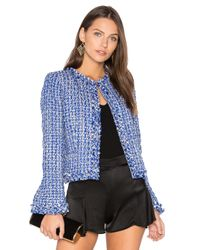 Alice + Olivia | Blue Nila Frayed Hem Box Jacket | Lyst