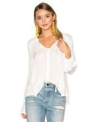 Band Of Gypsies - White Ruffle Front Peasant Blouse - Lyst