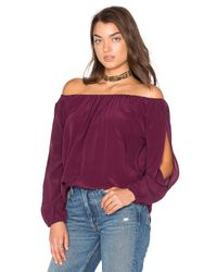 Chaser   Blue Open Sleeve Shirttail Boho Silk Top   Lyst