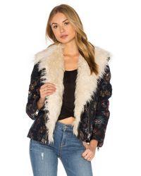Free People | Blue Jaquard Wool & Faux Fur Jacket | Lyst