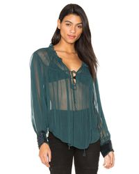 Free People | Green Dream Cuff Blouse | Lyst
