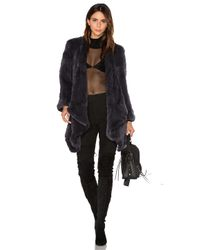 H Brand | Blue Hand Knitted Rabbit Fur Coat | Lyst
