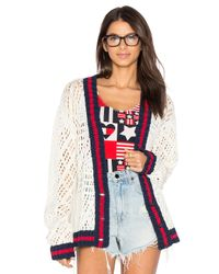 Tommy Hilfiger | White V Neck Corporate Cardigan | Lyst