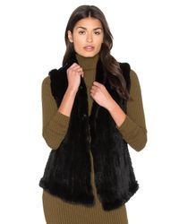 June | Black Shawl Dyed Rabbit Fur Vest | Lyst
