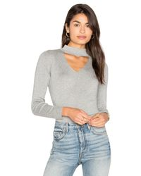 MILLY | Gray Cut Away Collar Sweater | Lyst
