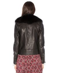 Nour Hammour - Black Nada Fox-Fur Collar Leather Jacket - Lyst