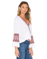 Piper White Butuan V Neck Drape Long Sleeve Top