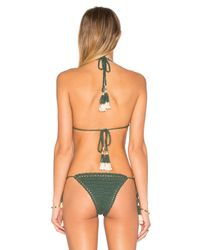 She Made Me - Green Crochet Halter Top - Lyst