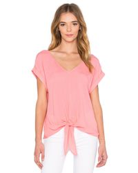Splendid   Pink Crinkle Gauze Tie Front Top   Lyst