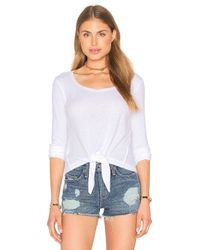 Splendid | White Heathered Thermal Front Tie Top | Lyst