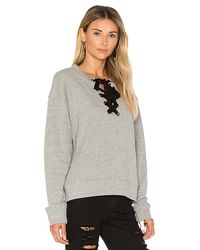 Black Orchid - Gray Lace Up Sweatshirt - Lyst