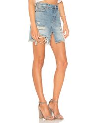 Free People - Blue Relaxed & Destroyed Skirt - Lyst