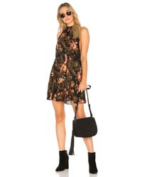 Free People - Black Printed She Moves Mini Dress - Lyst