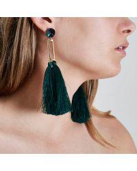 River Island | Dark Green Tassel Drop Earrings Dark Green Tassel Drop Earrings | Lyst