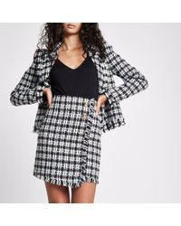 River Island - Black Check Boucle Button Mini Skirt - Lyst