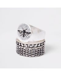 River Island - Metallic Silver Tone Wasp Ring Multipack for Men - Lyst
