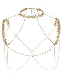 River Island | Metallic Gold Tone Chain Shoulder And Choker Harness | Lyst