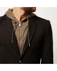 River Island Black And Khaki Hooded Blazer for men