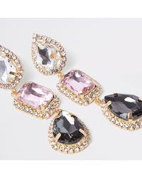 River Island - Metallic Gold Tone Diamante Jewel Drop Earrings - Lyst