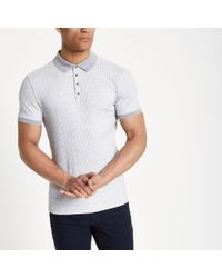 12f4af9f River Island Grey Textured Ribbed Muscle Fit Polo Shirt in Gray for ...