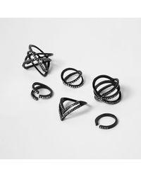 River Island | Black Diamante Encrusted Ring Pack | Lyst