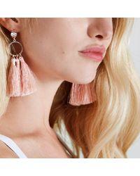 River Island - Light Pink Tassel Drop Hoop Diamante Earrings - Lyst