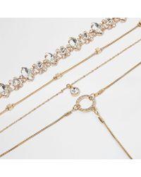 River Island - Metallic Gold Tone Diamante Multi Row Choker Set - Lyst