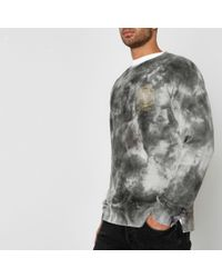 River Island - Gray Jack & Jones Grey Tie Dye Crew Sweatshirt for Men - Lyst