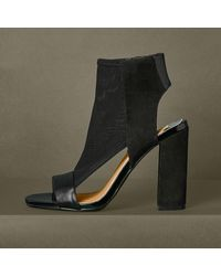 Black Lace Mesh Block Heel Shoe Boots River Island