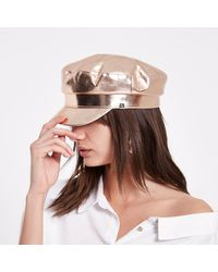 River Island - Pink Rose Gold Metallic Baker Hat - Lyst