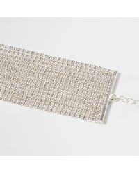 River Island - Metallic Silver Tone Diamante Multi Layer Chain Choker - Lyst