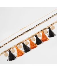 River Island - Orange Tassel Chain Draper Choker Set - Lyst
