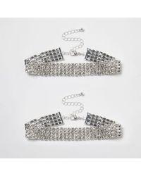 River Island - Metallic Silver Tone Diamante Sparkly Anklet Pack Silver Tone Diamante Sparkly Anklet Pack - Lyst