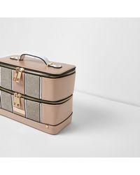 River Island - Natural Beige Metallic Panel Vanity Case - Lyst