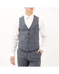 River Island - Gray Grey Wool-blend Print Lined Slim Waistcoat for Men - Lyst
