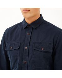 River Island - Blue Navy Herringbone Utility Overshirt for Men - Lyst