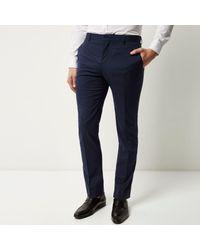 River Island - Dark Blue Slim Suit Trousers for Men - Lyst