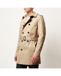 River Island - Natural Stone Traditional Double Breasted Mac for Men - Lyst