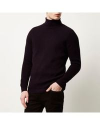 River Island - Purple Knitted Roll Neck Jumper for Men - Lyst