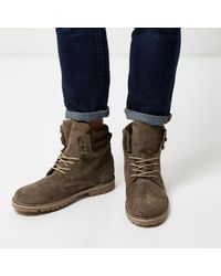 River Island   Brown Taupe Suede Boots for Men   Lyst