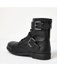 River Island - Black Leather Buckle Biker Boots for Men - Lyst