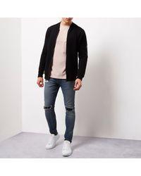 River Island - Light Pink Slim Fit Embossed T-shirt for Men - Lyst