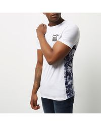 River Island - White Brooklyn Print Muscle Fit T-shirt for Men - Lyst