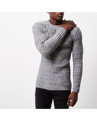 River Island - Gray Grey Ribbed Jumper for Men - Lyst