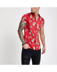 1aef47a2 River Island Satin Paisley Slim Fit Short Sleeve Shirt in Red for ...
