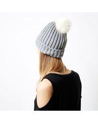 River Island - Gray Grey Knit Bobble Hat - Lyst