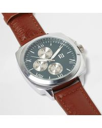 River Island - Multicolor Tan Strap Round Turquoise Face Watch for Men - Lyst