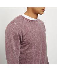 River Island - Red Burnout Crew Neck Sweatshirt for Men - Lyst