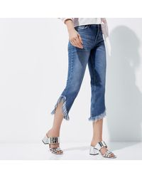 River Island - Mid Blue Frayed Hem Cropped Jeans - Lyst